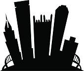 Pittsburgh Cartoon City Silhouette