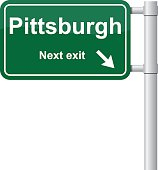 Pittsburgh next exit green signal vector