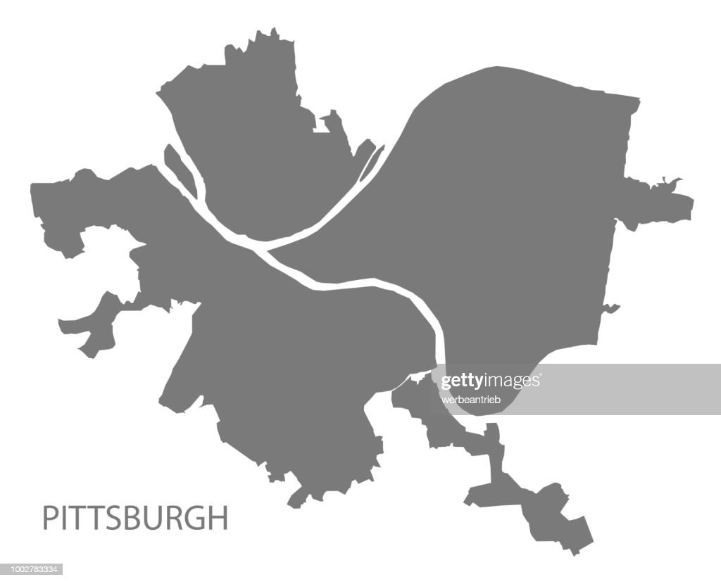 Pittsburgh Pennsylvania city map grey illustration silhouette shape