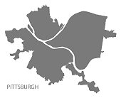Pittsburgh Pennsylvania city map grey illustration silhouette shape