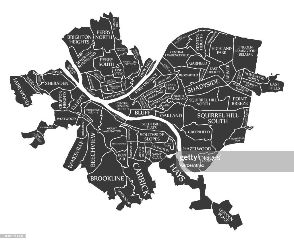 Pittsburgh Pennsylvania city map USA labelled black illustration