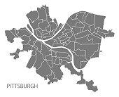Pittsburgh Pennsylvania city map with neighborhoods grey illustration silhouette shape