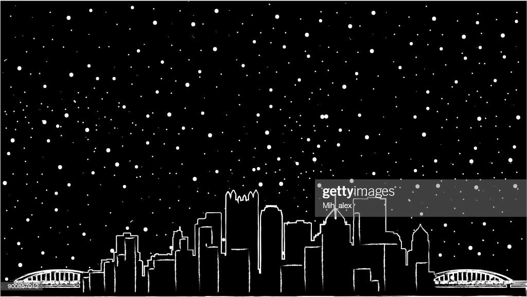 Pittsburgh, Pennsylvania skyline USA. Detailed vector silhouette, flat design, beautiful shadow, two bridges, black colour, mirror view, re-sizable, customizable, eps 10