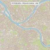 Pittsburgh Pennsylvania US City Street Map