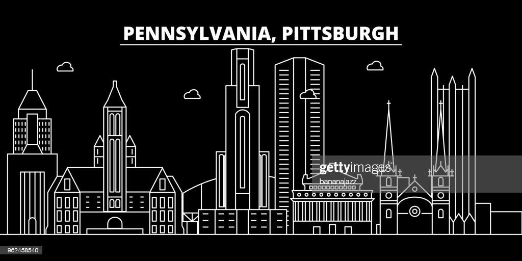 Pittsburgh silhouette skyline. USA - Pittsburgh vector city, american linear architecture, buildings. Pittsburgh travel illustration, outline landmarks. USA flat icon, american line banner