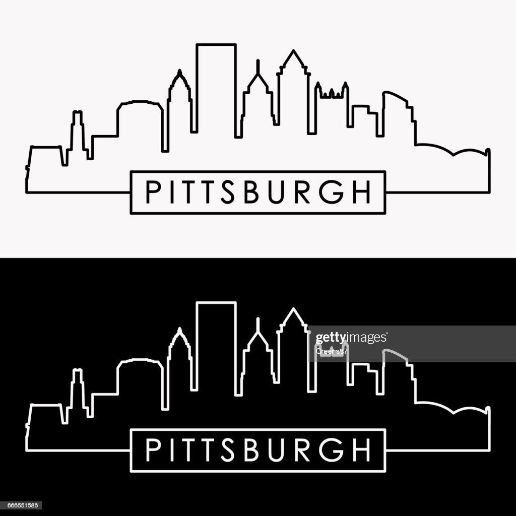 Pittsburgh skyline. Linear style.