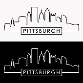 Pittsburgh skyline. Linear style.