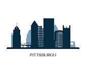 Pittsburgh skyline, monochrome silhouette. Vector illustration.