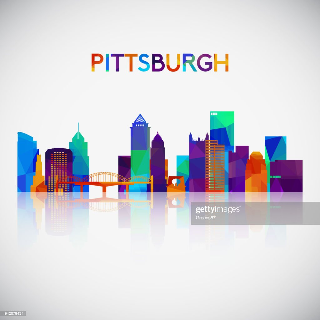 Pittsburgh skyline silhouette in colorful geometric style. Symbol for your design. Vector illustration.