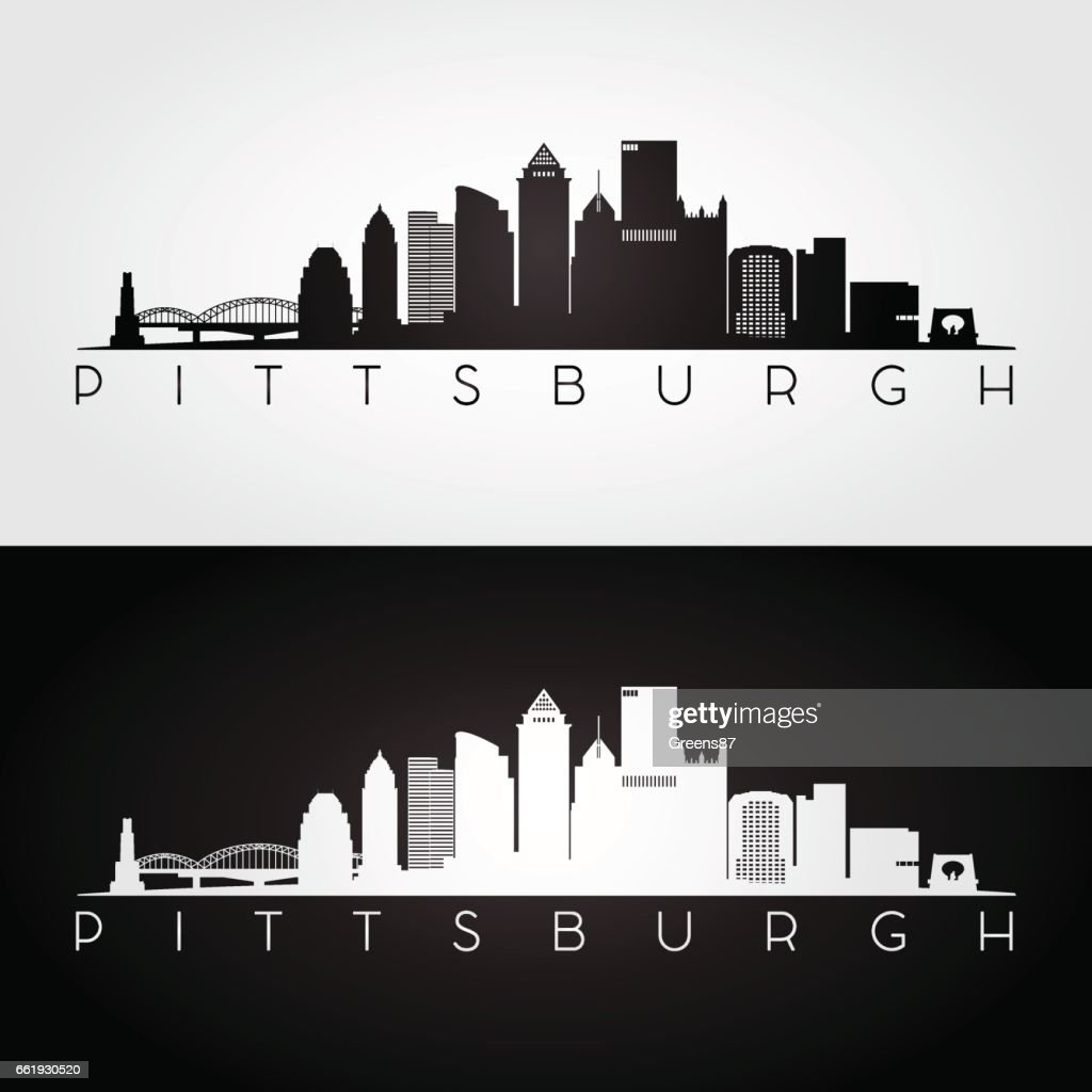 Pittsburgh USA skyline and landmarks silhouette
