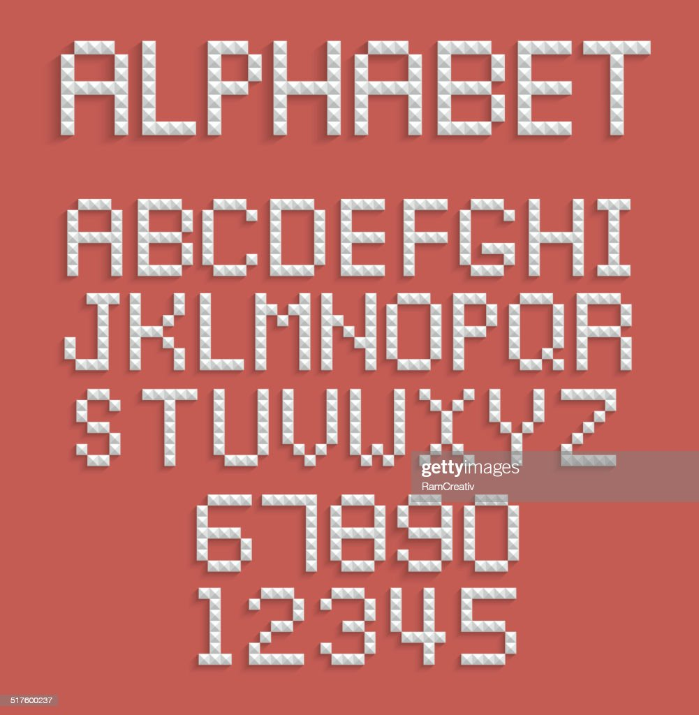 Pixel alphabet of numbers and letters