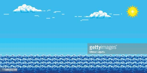 illustrations, cliparts, dessins animés et icônes de fond d'art de pixel avec le ciel et la mer. - paysage marin