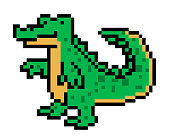 Pixel art crocodile character isolated on white background. Wildlife/zoo/national park/safari animal icon. Cute 8 bit alligator logo. Retro vintage 80s; 90s slot machine/video game graphics.