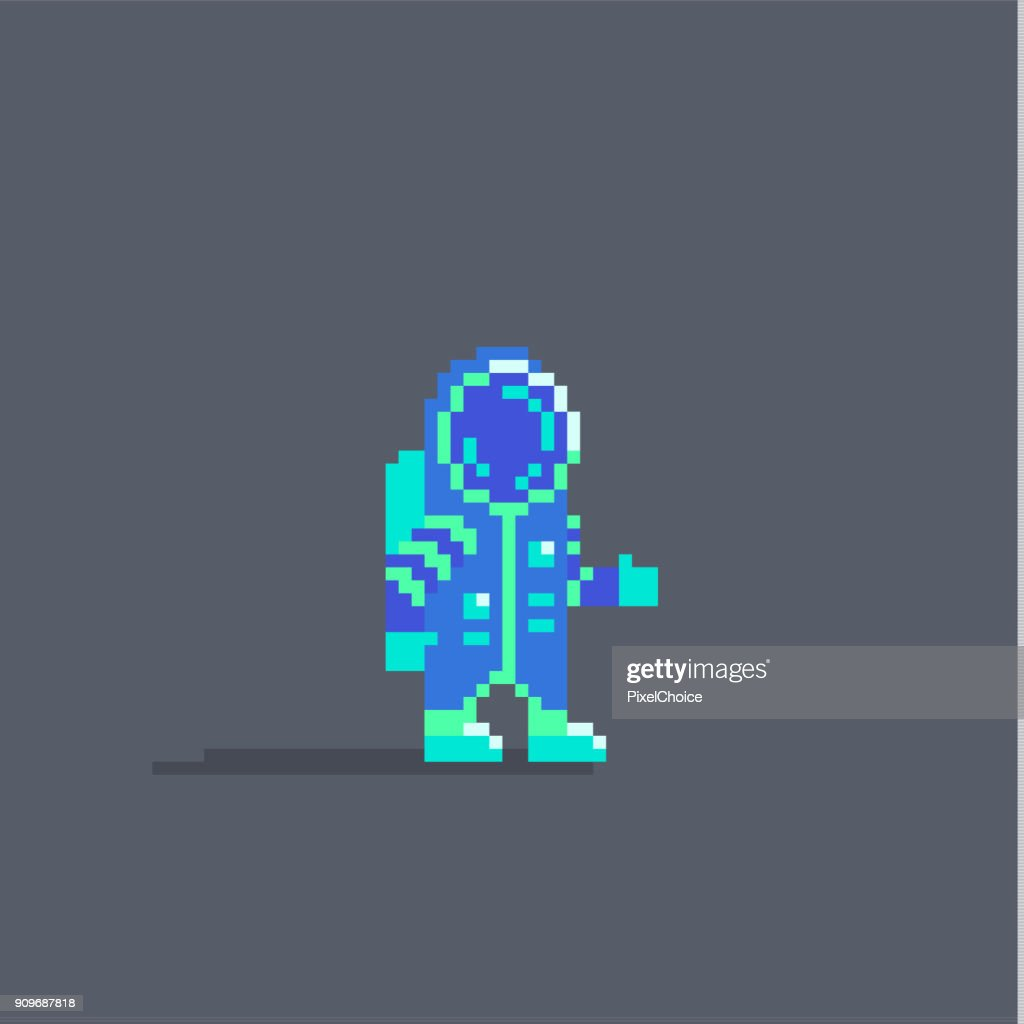 Pixel art cute astronaut personage.
