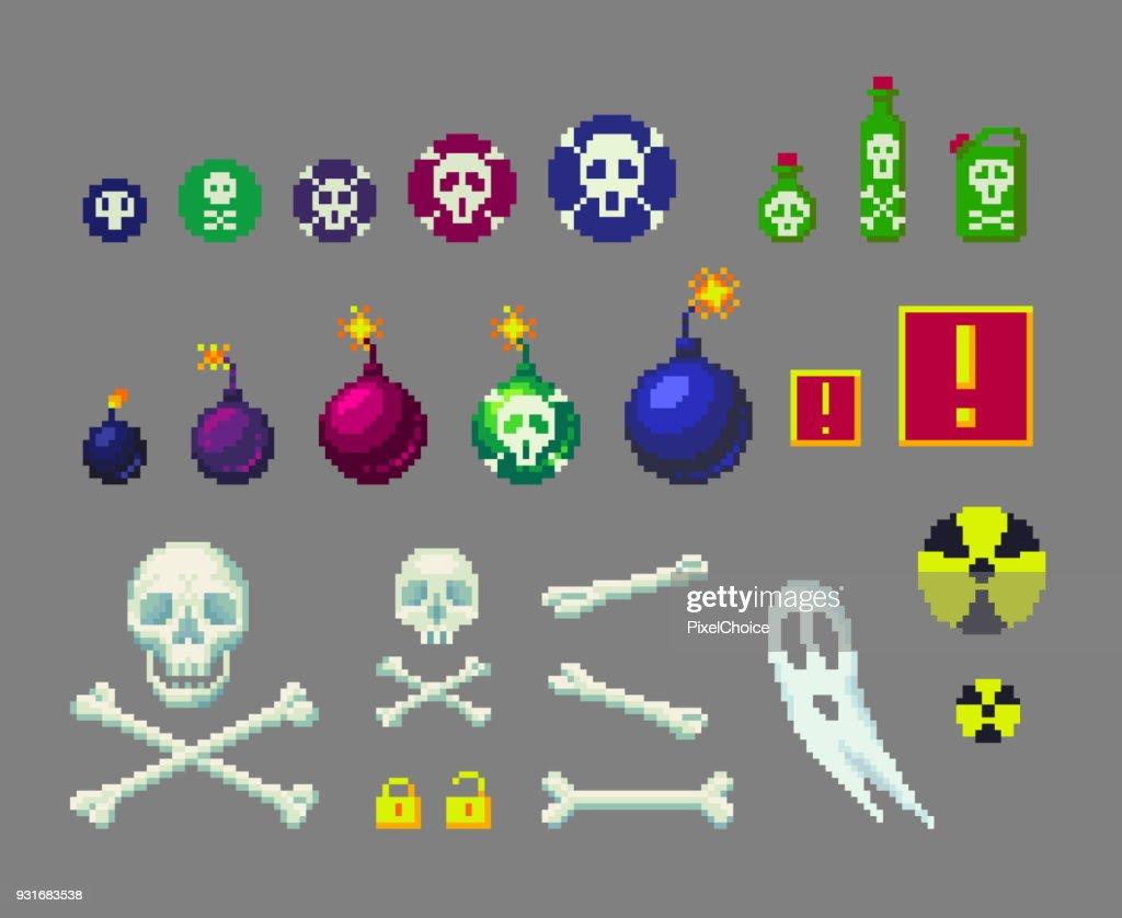 Pixel art danger icons set.