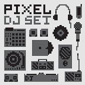 Pixel art dj vector set