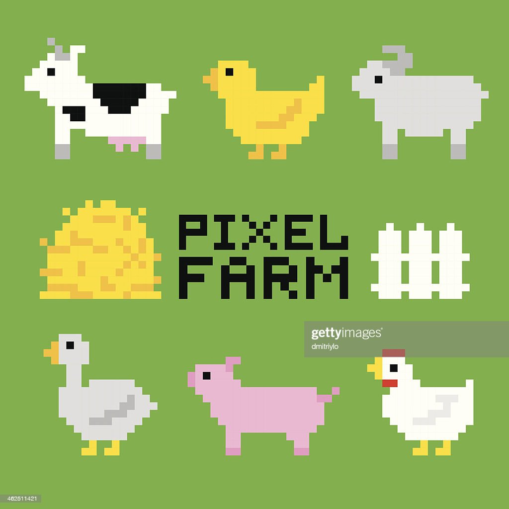Pixel art farm animals
