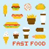 Pixel art fast food vector set