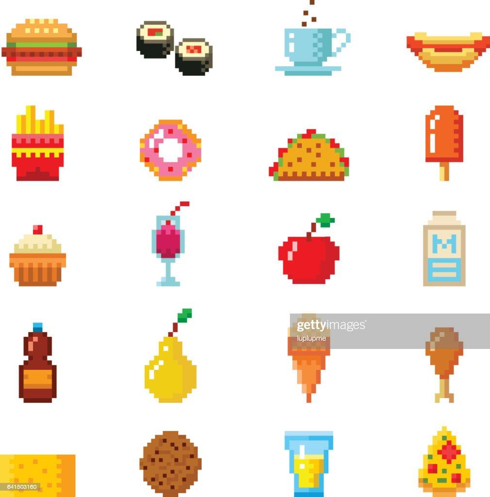 Pixel art food computer design icons vector