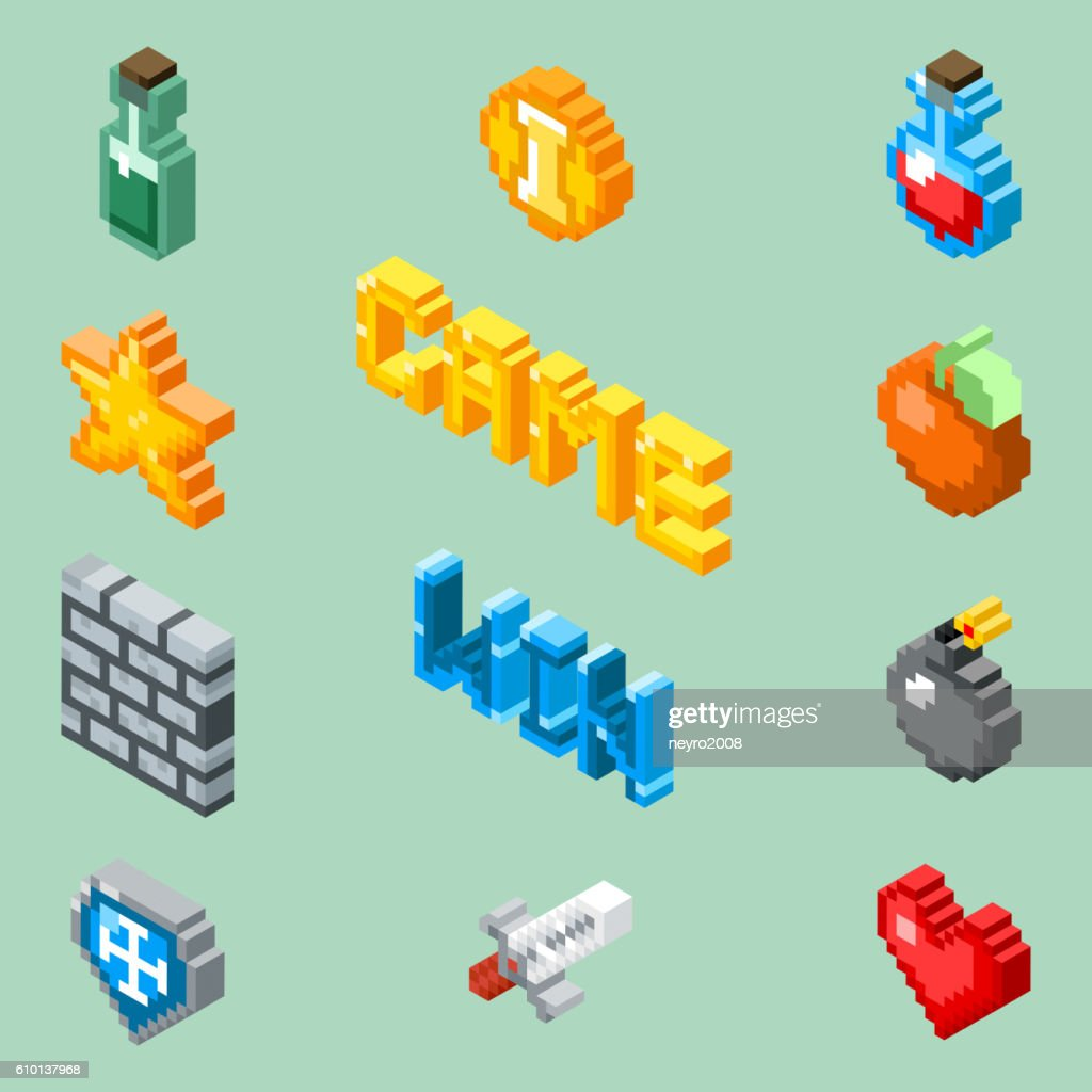Pixel art game icons. 8 bit isometric pictograms vector