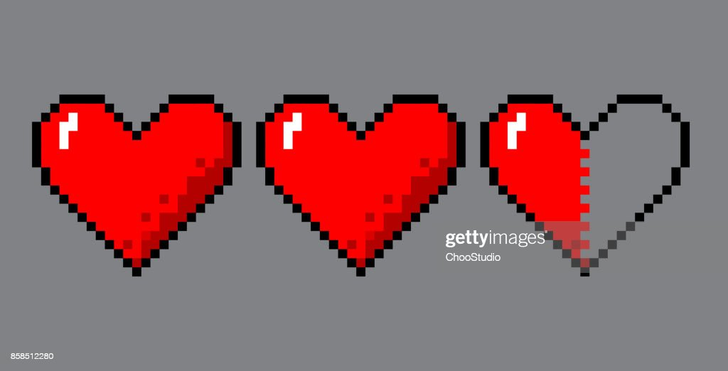 Pixel art hearts for game