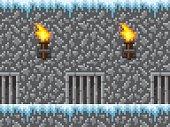 Pixel Art Icy Dungeon Seamless Horizontal Pattern