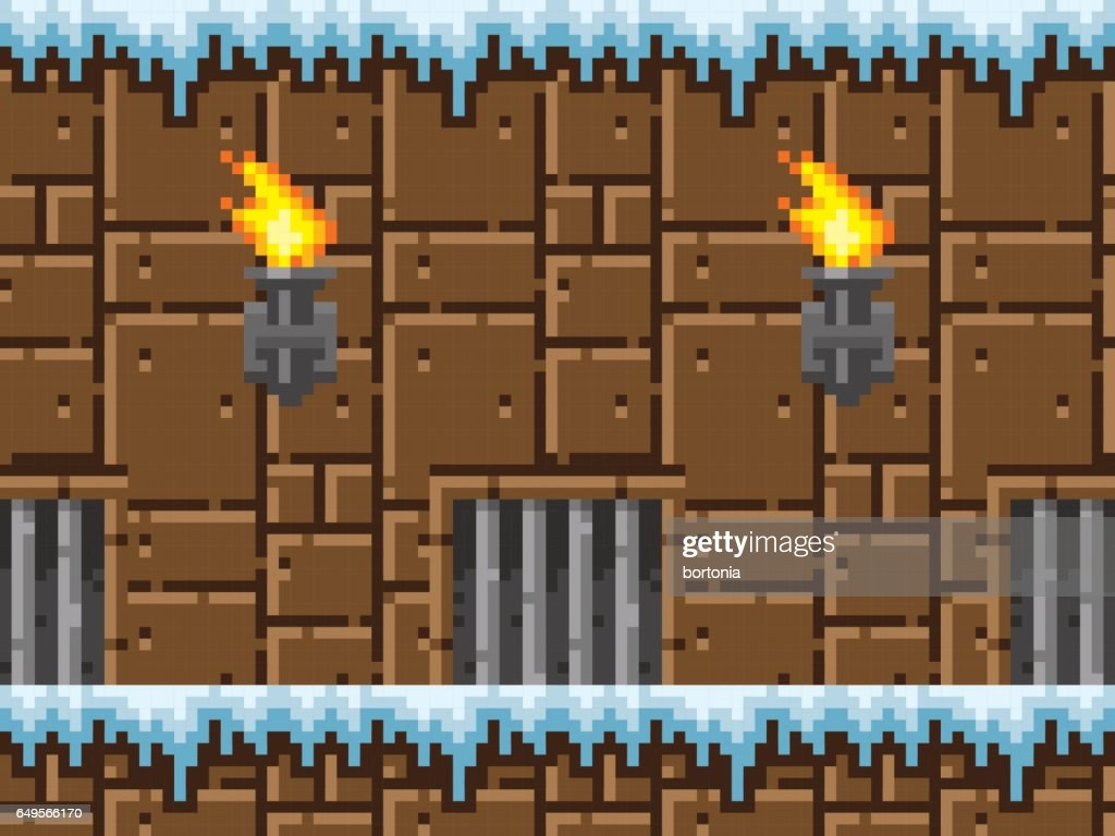 Pixel Art Icy Dungeon Seamless Horizontal Pattern Vector