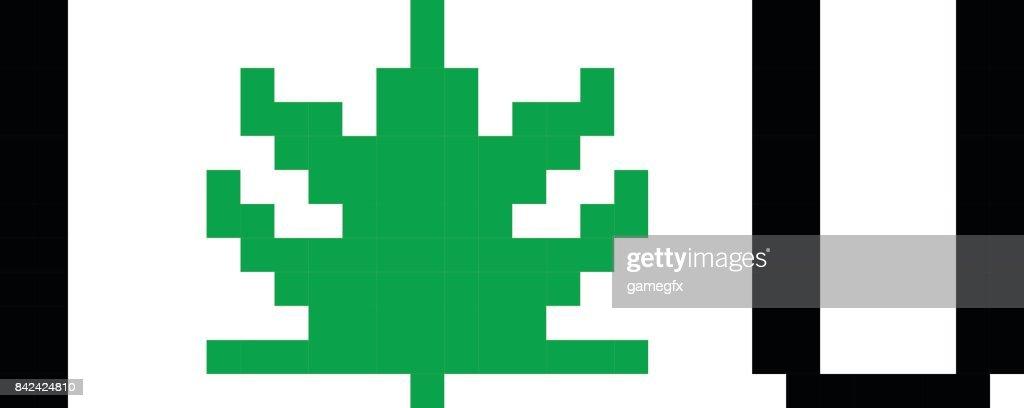 Pixel art marijuana cannabis leaf cartoon retro game style