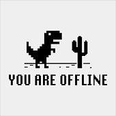 Pixel art of dinosaur describing offline error for internet