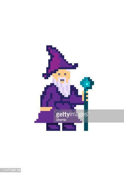 pixel art old wizard - wizard stock illustrations, clip art, cartoons, & icons