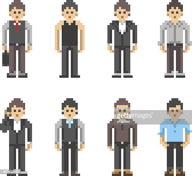 pixel art people - business man - pixellated stock illustrations, clip art, cartoons, & icons