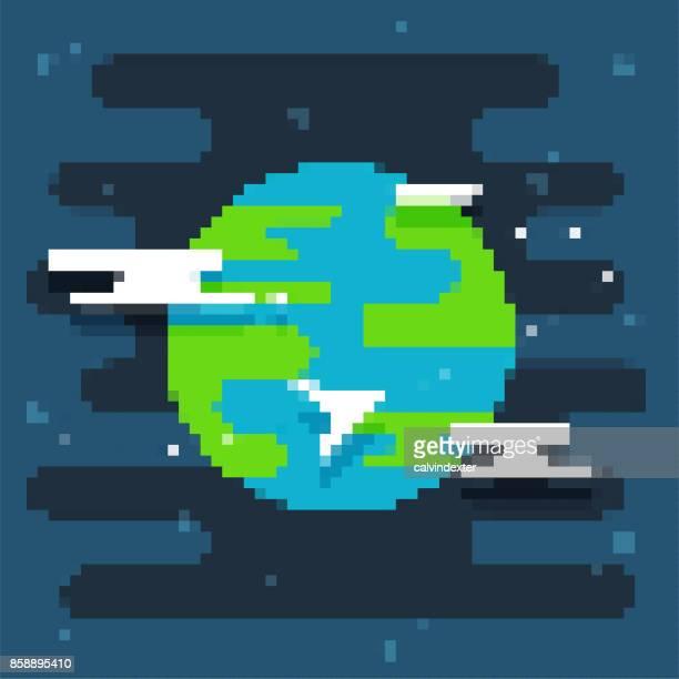 pixel art planet - pixellated stock illustrations, clip art, cartoons, & icons