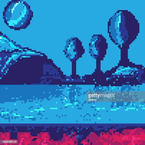 pixel art seamless background - number 8 stock illustrations