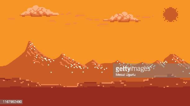 pixel art seamless background with mountains. - leisure games stock illustrations
