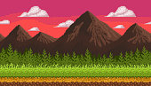 Pixel art seamless background with mountains.