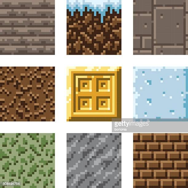 ピクセルアートシームレスなゲームスロープのタイル - ブロック型点のイラスト素材/クリップアート素材/マンガ素材/アイコン素材