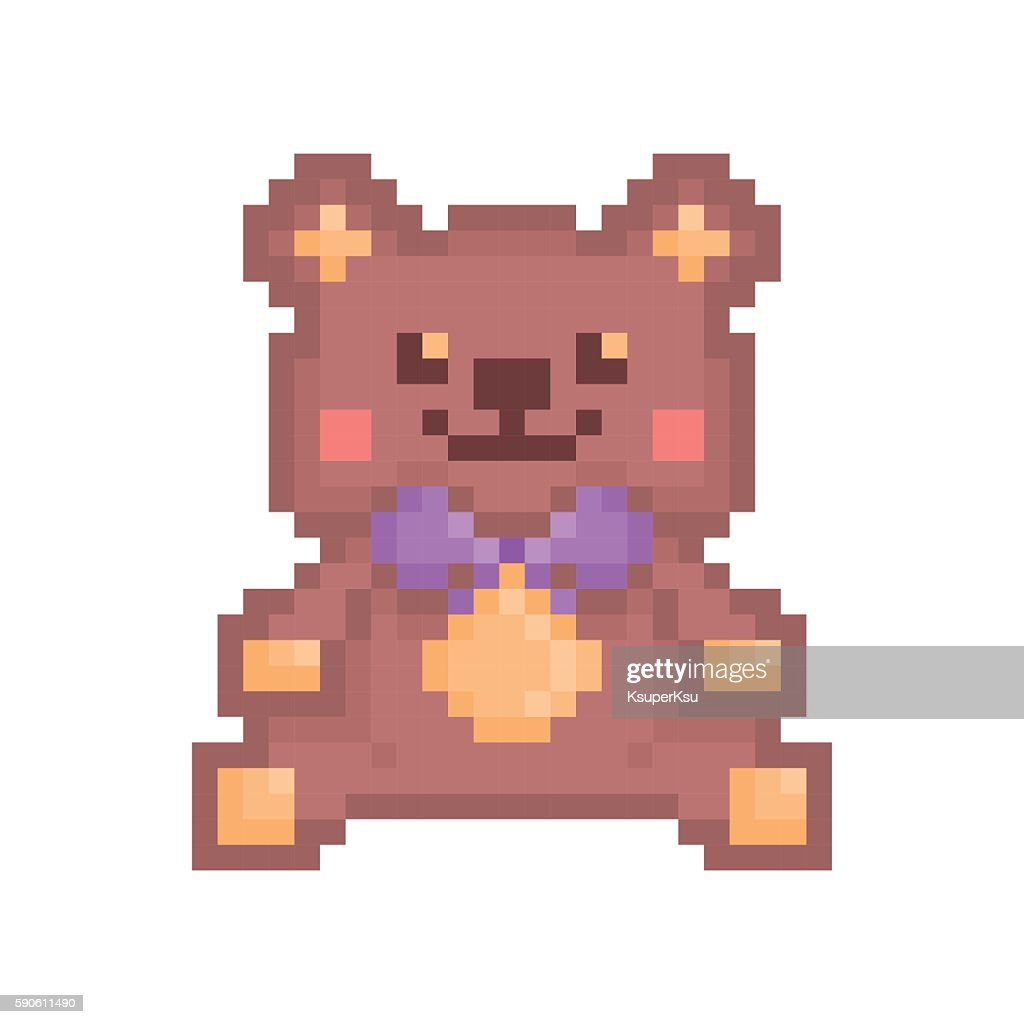 Pixel art sitting brown toy bear icon