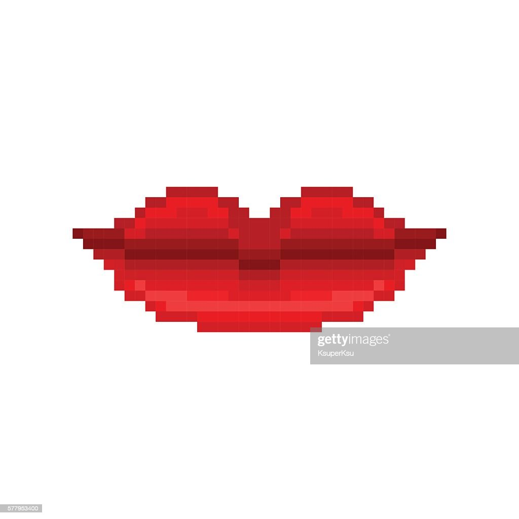 Pixel art smiling woman lips with red lipstick