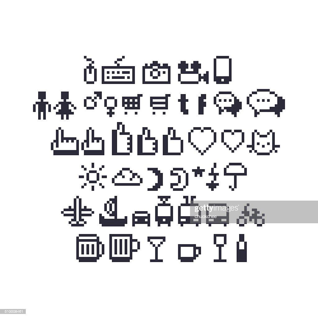 Pixel Art Social UI Icons