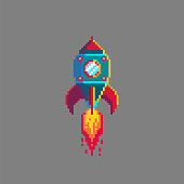Pixel art spaceship rocket launch.