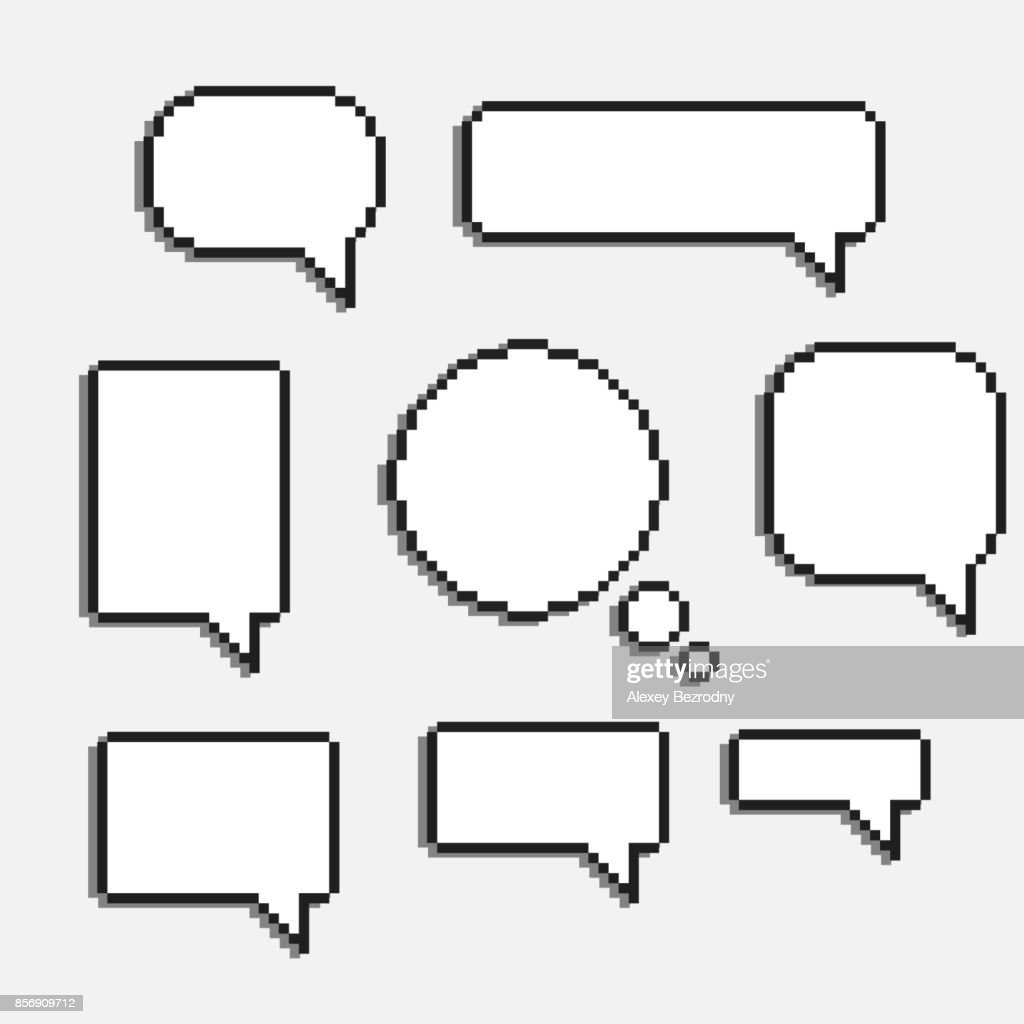 pixel art speech cloud vector