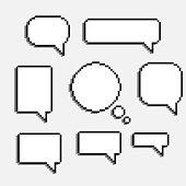 pixel art speech cloud vector
