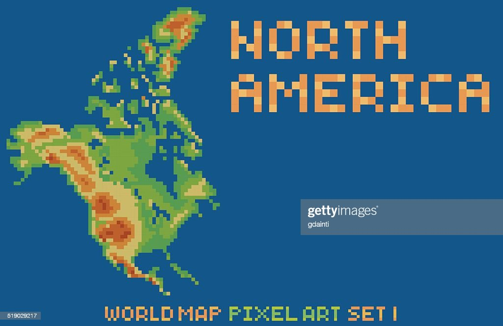 pixel art style map of north america, contains relief continent
