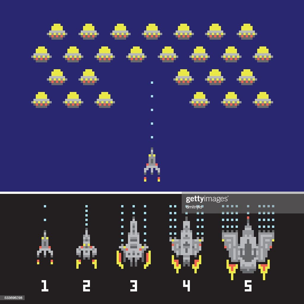 Pixel art style space war and spaceship game upgrades vector