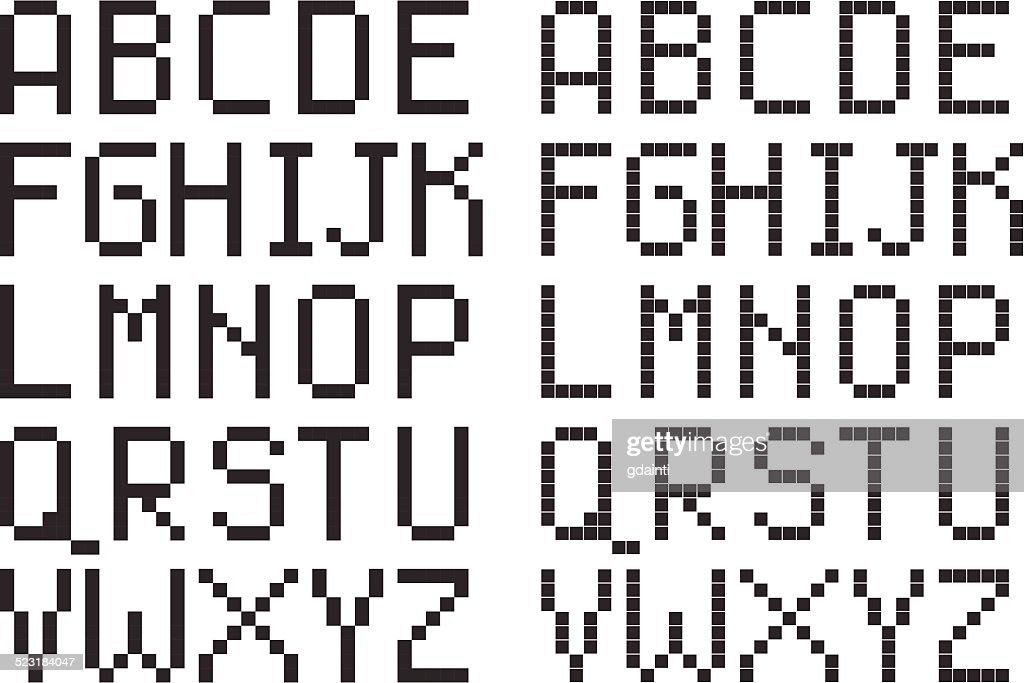 pixel art style uppercase alphabet, black square letters on white