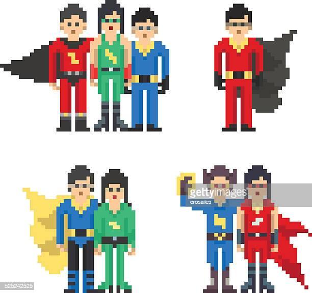 pixel art superhero team costumes - pixellated stock illustrations, clip art, cartoons, & icons