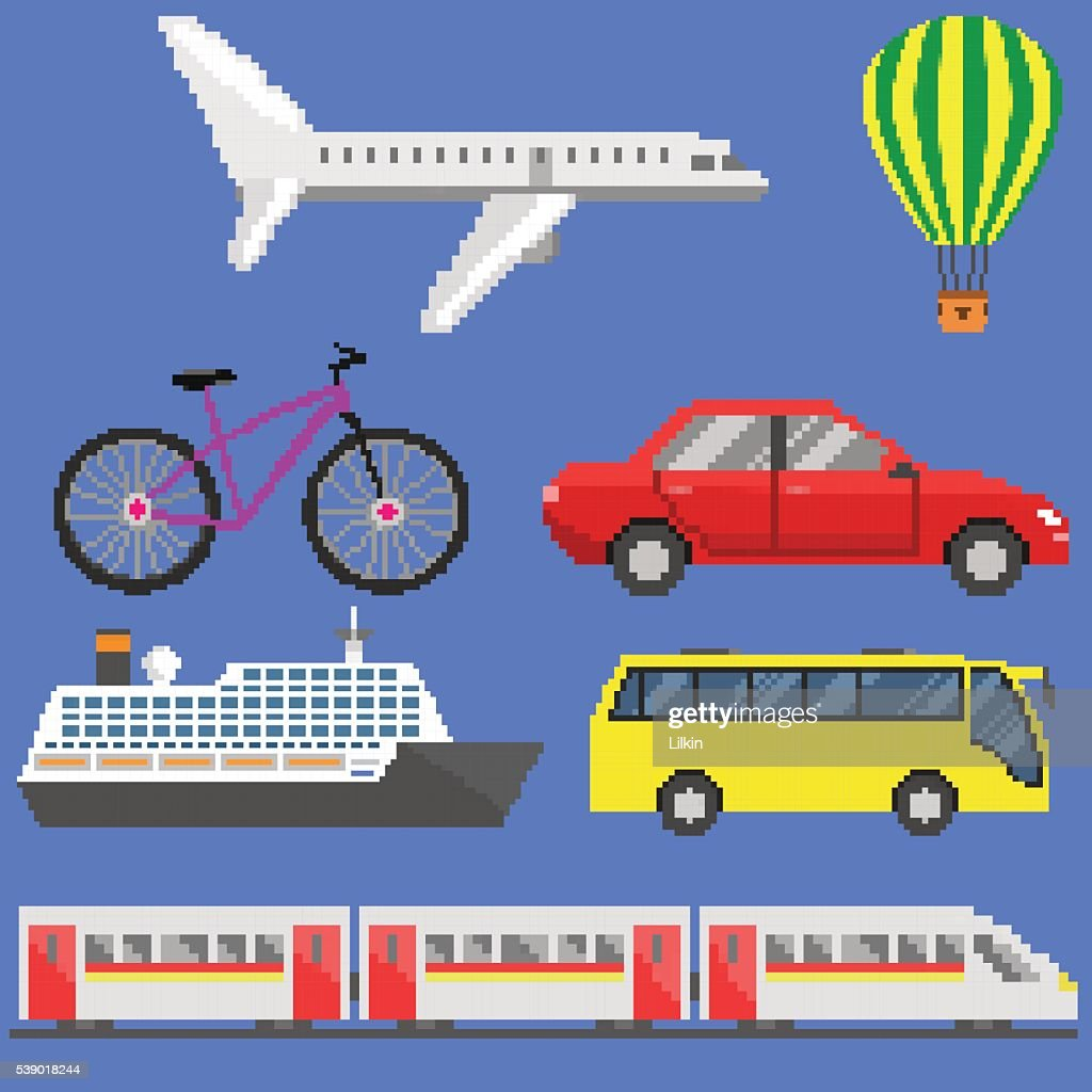Pixel art transport set
