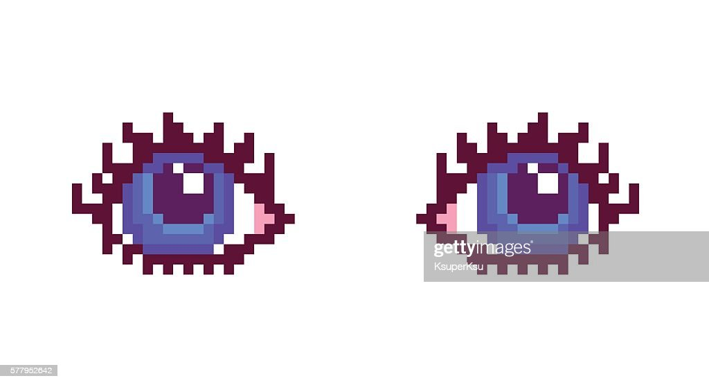 Pixel art, woman blue eyes with long eyelashes