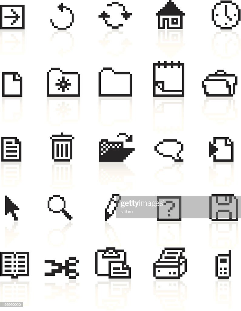pixel black web icons