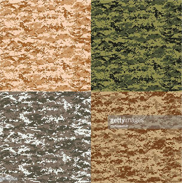 pixel camouflage in 4 colors - camouflage stock illustrations